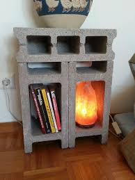 Cinder block bedside table. I love it, especially the salt lamp! | Cinder  block furniture, Bedroom decor pictures, Bedside table diy
